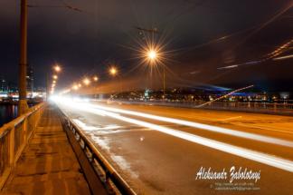нічна фотографія міста на Дніпрі на великій витриці, фотограф, Заболотний Олександр, Дніпропетровськ